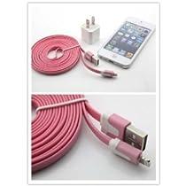(I-Accessary)(商品 )(全4色)(カラー豊富)iphone5 ipad4&ipad mini対応ライトニングUSBケーブル USB充電&データ通信 ラーメンみたい形 長いケーブル 3メートル 充電&データ転送機能 耐久性 持ち運び便利 lighting cable for iphone5 ipad4&ipad mini (ピンク) pink