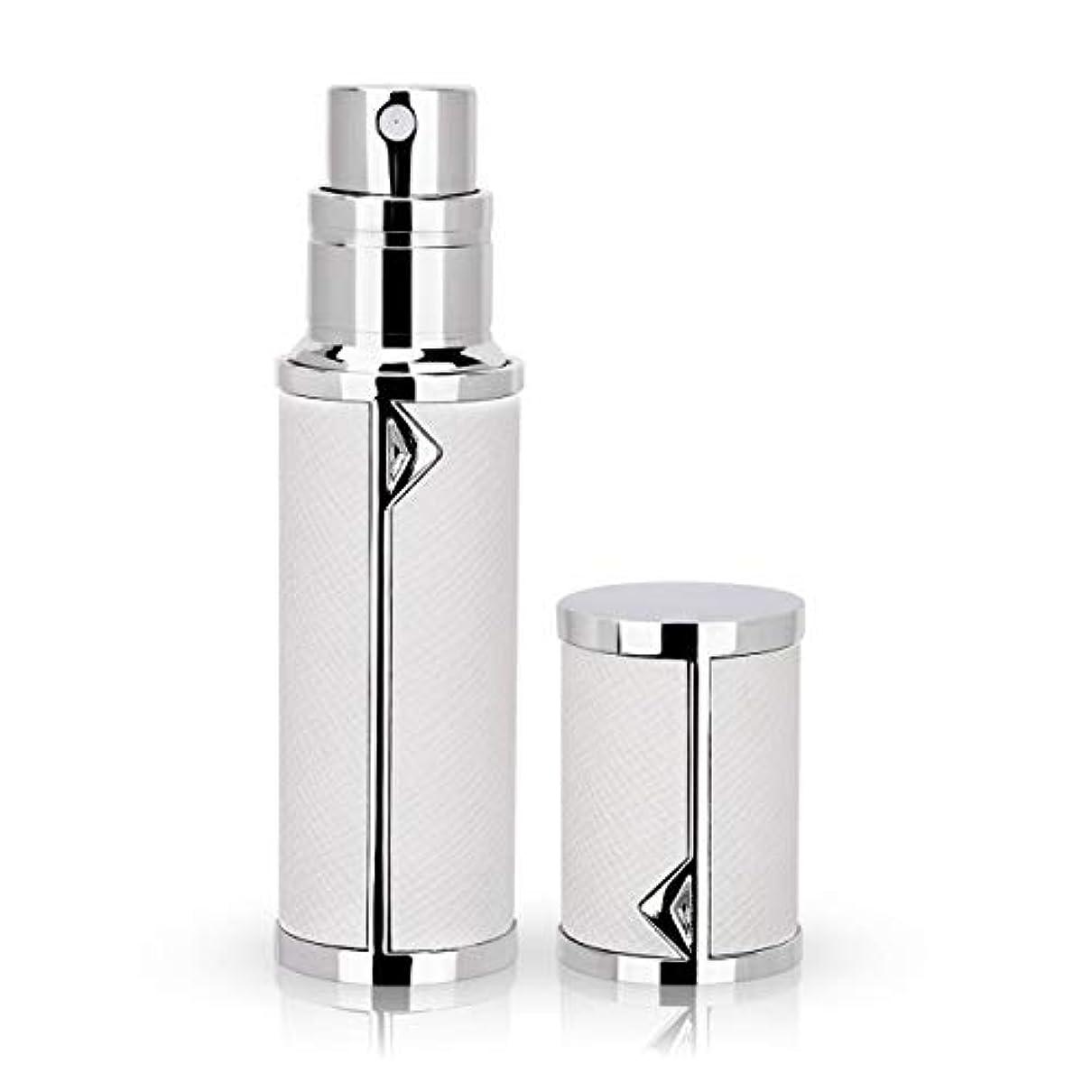 ネックレット加入講堂アトマイザー 香水アトマイザー 詰め替え Louischanzl 香水噴霧器 2-2.5mm径 5ml PUレザー レディース メンズ (白いWhite)