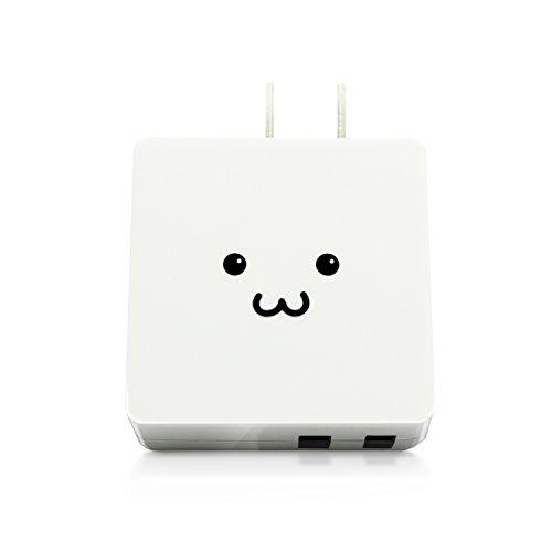 エレコム 充電器 ACアダプター 【iPhone&Android対応】 折畳式プラグ USBポート×2 (2A出力) 急速充電 10年使える長寿命設計 ホワイト フェイス MPA-ACUCN005AWF