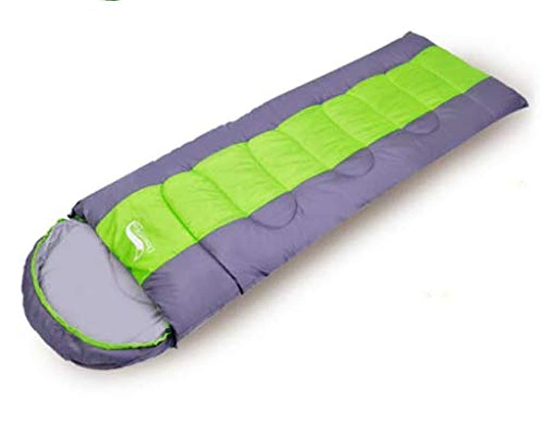 先生つば不機嫌そうな寝袋 封筒型 軽量 防水 コンパクト アウトドア 登山 車中泊 丸洗い 1.6kg 春用 秋用 拡大収納袋付き (Color : グリーン)