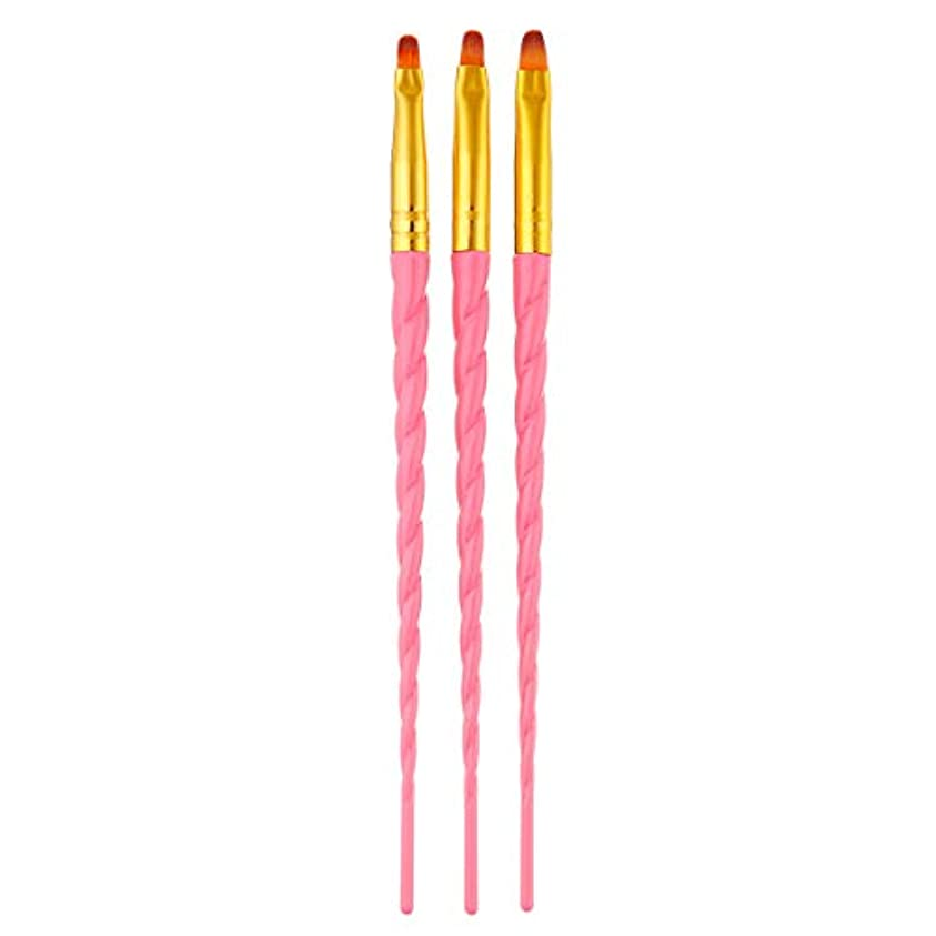 見捨てる抵抗追い出すSODIAL 3ピース/セット、ネイルアート、スレッド、アクリルuvジェルの延長ビルダー、絵画ブラシのパターンのデザイン、描画用ペン、マニキュアツール、ピンク