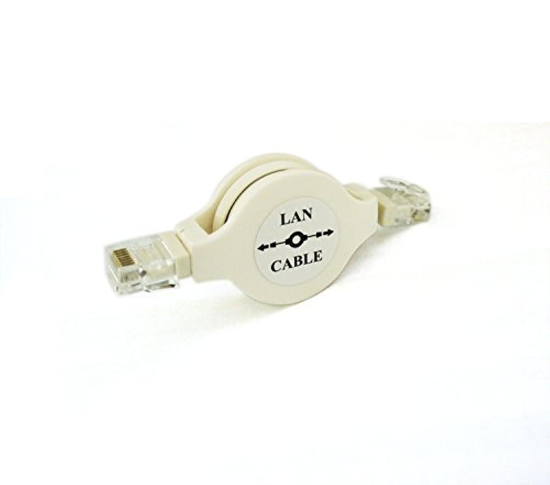 五点セットGOODGOODS リール式 LANケーブル 約85CM モバイル 巻き取り式 Cat5準拠 (白 ホワイト)LAN Cable 旅行や出張に携帯便利