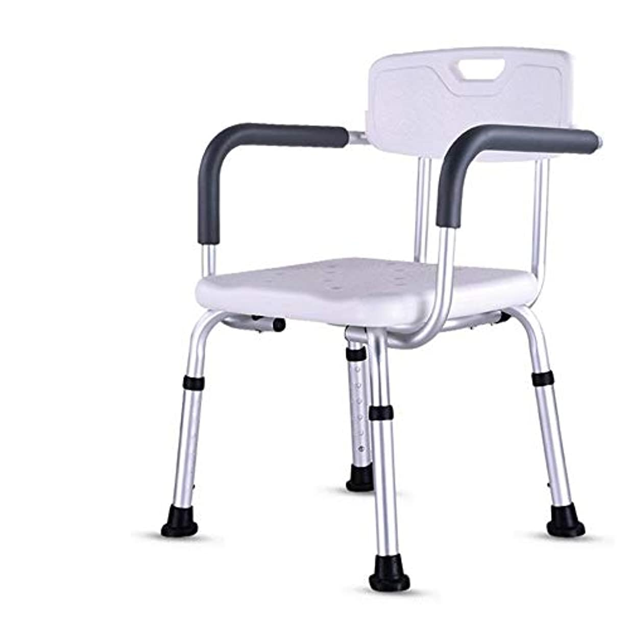 背もたれ付き軽量折りたたみウェットバスルームシャワーシートチェア-高さ調節可能
