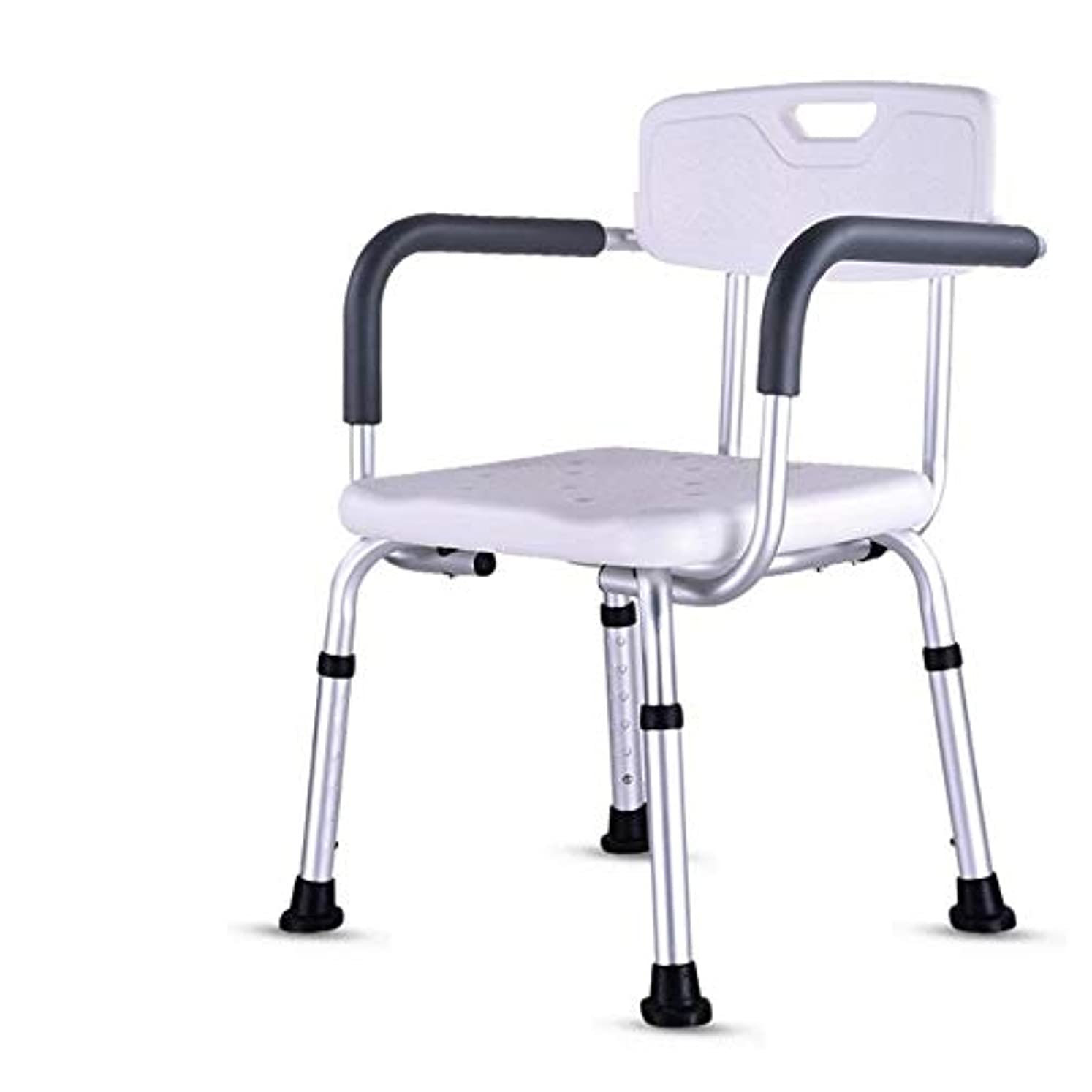 宣教師怠把握背もたれ付き軽量折りたたみウェットバスルームシャワーシートチェア-高さ調節可能