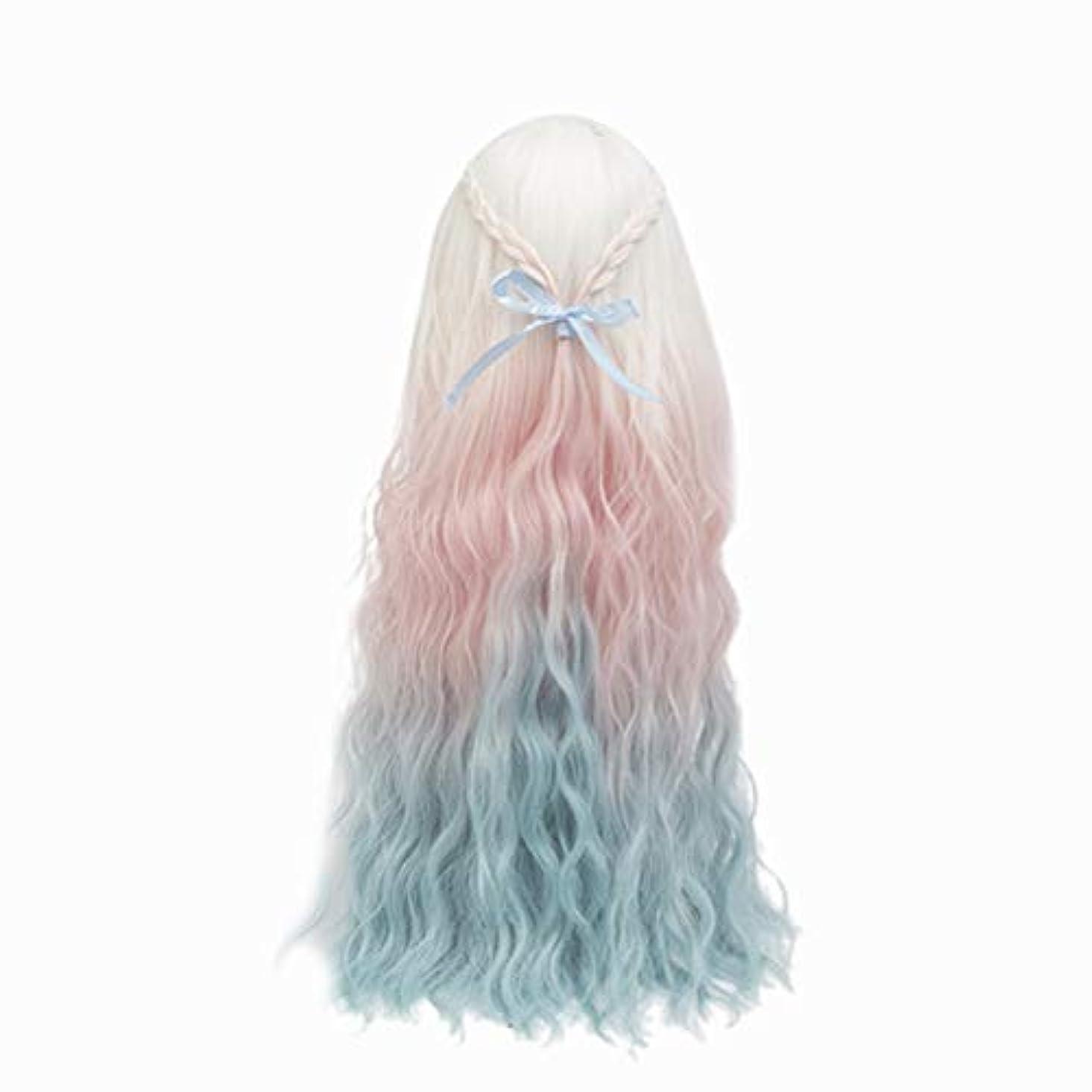 好き船尾ビジネスHealifty Healiftyファッション人形かつらヘアピース長い巻き毛人形用DIY作りと修理アクセサリー色とりどりのグラデーション