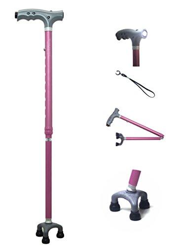 すこやかステッキ【日本正規品】NOMEAROD ノメアロッド ウエルネスケーン SC-1-LED 日本人の身長にあわせたアジアンフィット設計 身長 132cm から 175cm 美しいアルミプレミアムサーフェイス 3点ピボットチップ 高輝度LED採用 (シャインピンク)