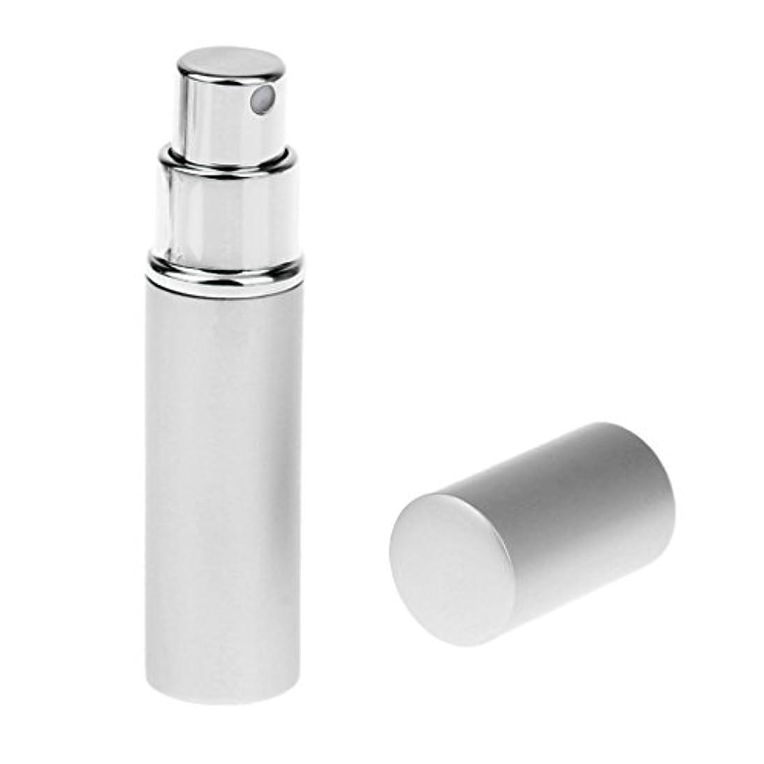 エンディングつぶす深くKesoto 男女兼用 詰め替え可能 ポータブル アルミ ガラス製 香水アトマイザー 空ボトル ポンプ 全4色 - 銀色