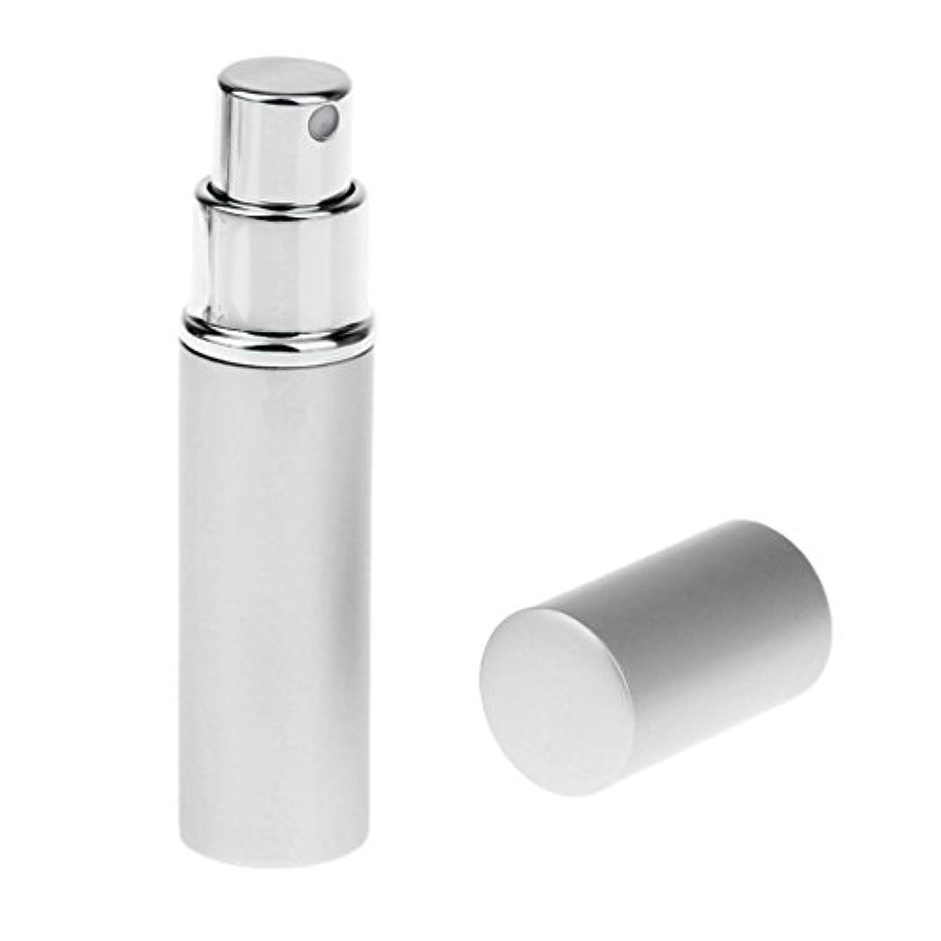 害虫民兵指Kesoto 男女兼用 詰め替え可能 ポータブル アルミ ガラス製 香水アトマイザー 空ボトル ポンプ 全4色 - 銀色