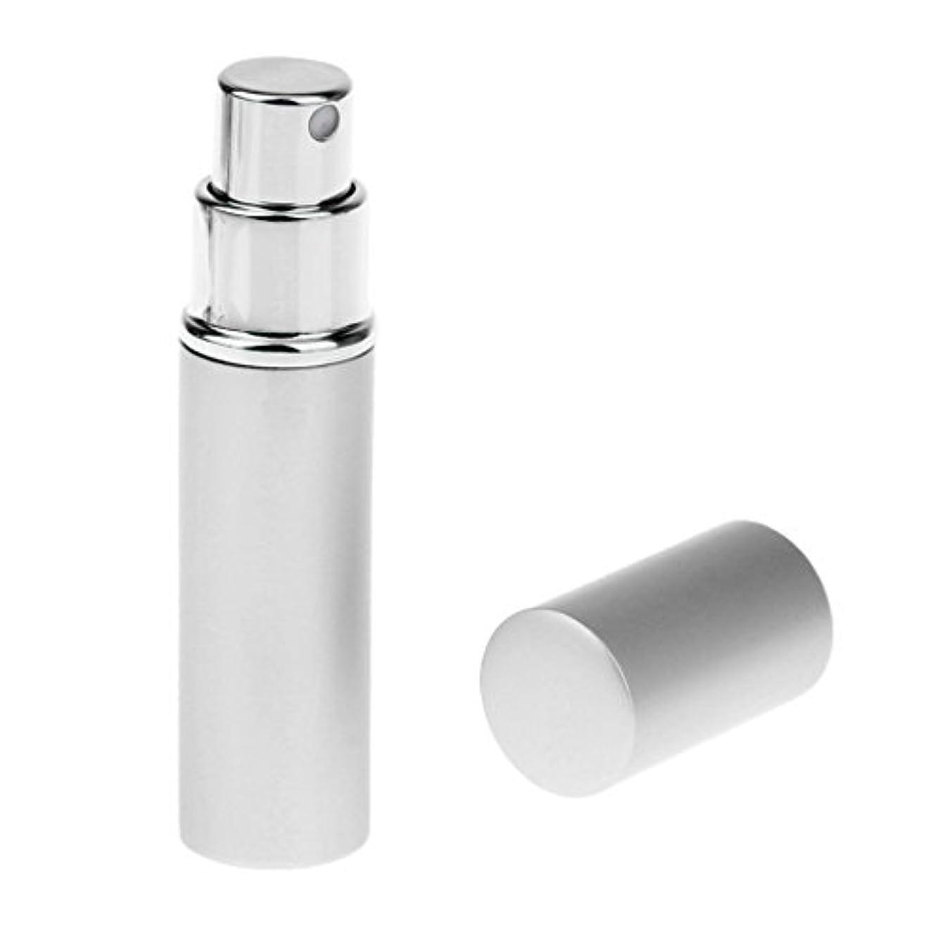 市の中心部返還乳白Kesoto 男女兼用 詰め替え可能 ポータブル アルミ ガラス製 香水アトマイザー 空ボトル ポンプ 全4色 - 銀色