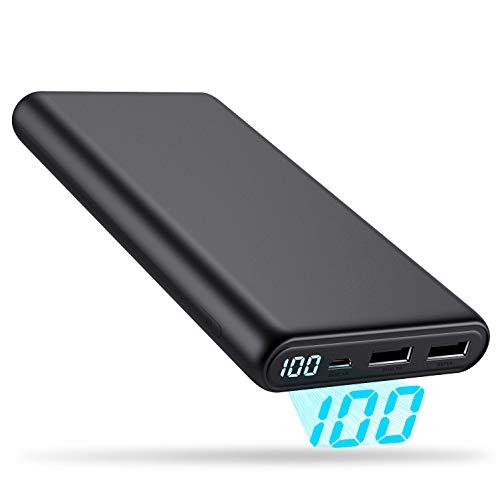 モバイルバッテリー 大容量 24800mAh 小型 LCD残量表示 【PSE認証済 24ヶ月保証】 携帯充電器 急速充電 2USB出力ポート 持ち運び充電器 スマートフォン、タブレット各種対応 充電バッテリー