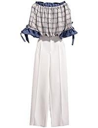 ボートネックツーピース女性夏ファッションハイウエスト気質ワイドレッグパンツセット