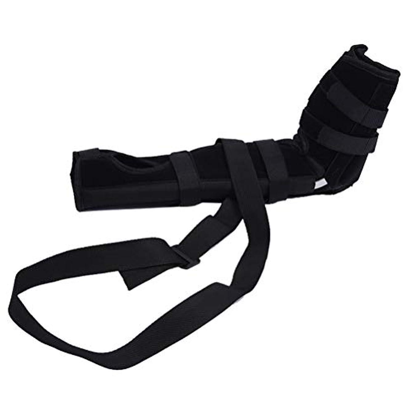 軽く側パットSUPVOX 肘ブレース 関節サポート アームリーダー 保護 固定 腕つり 関節 保護 男女兼用 調節可能 通気性 術後ケアブレース(ブラック サイズL)