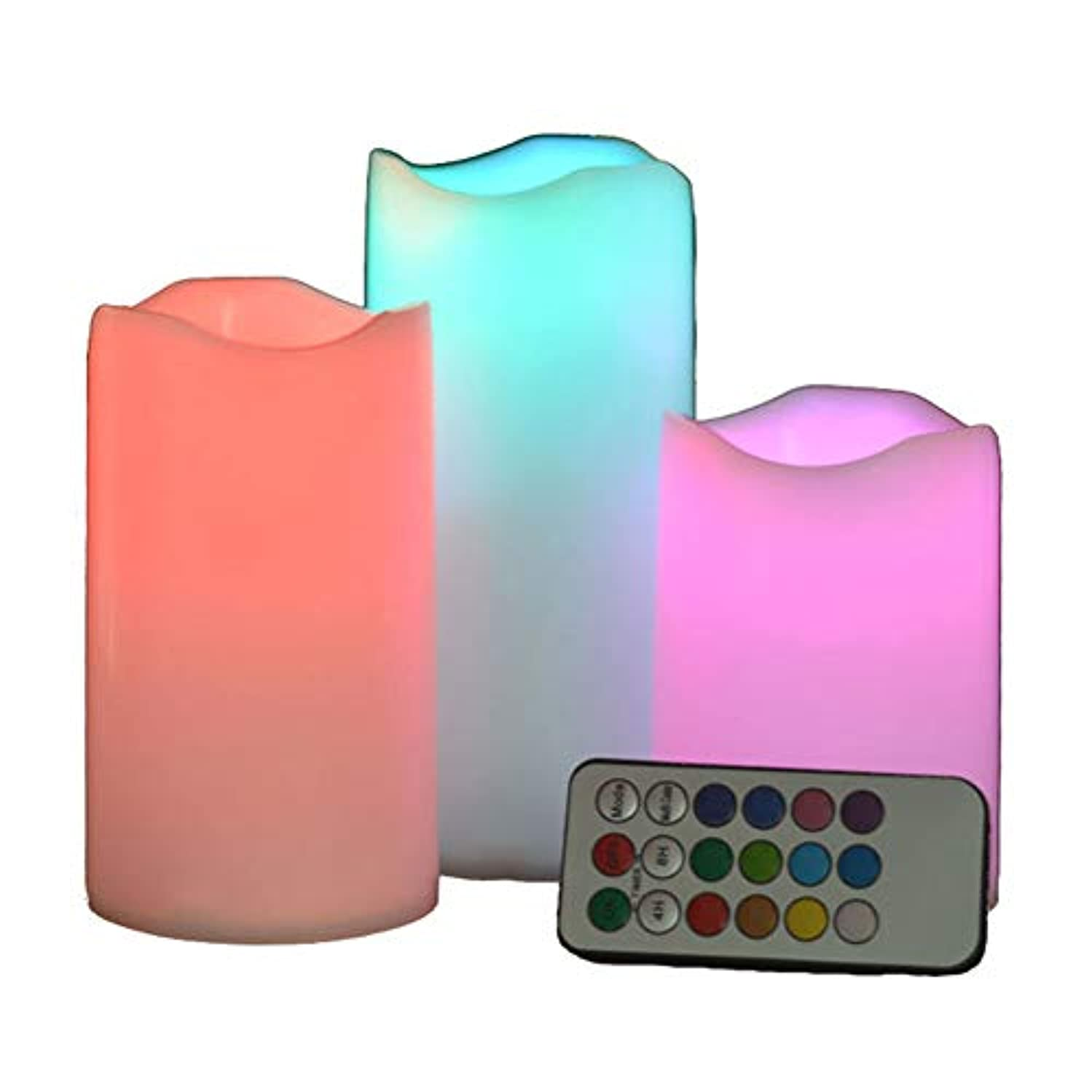 練習した解く硬化するLEDリモートコントロール電子キャンドルクリエイティブ18キータイミングカラフルなプラスチッククリスマスライトキャンドルライト(バッテリーなし)