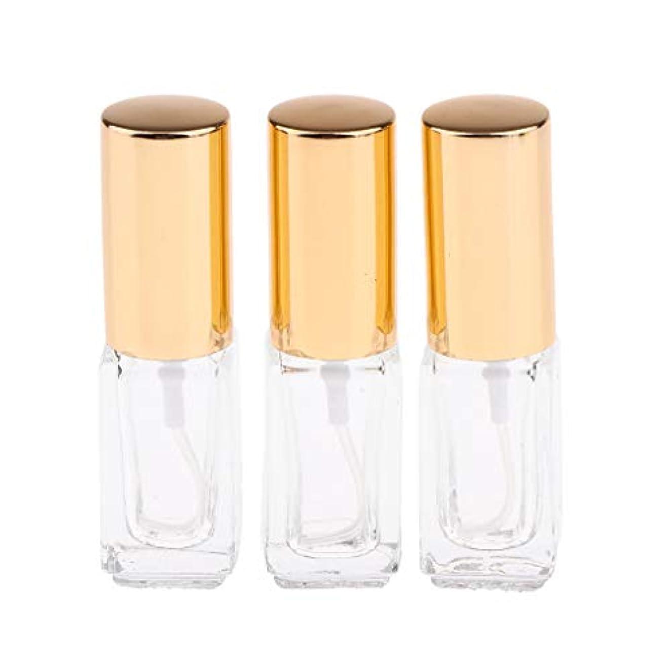 飛ぶ連合ミケランジェロSharplace 3ML スプレーボトル 香水アトマイザー ミストボトル 詰め替え 分け瓶 携帯用 3個セット 全3色 - ゴールドキャップ