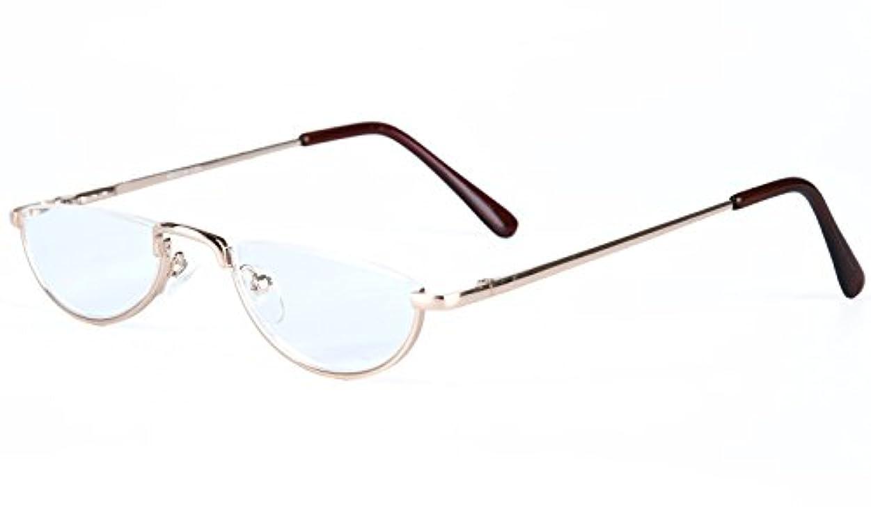 (イェーガー)Agstum 半月 ハーフリム 老眼鏡 レディース メンズ バネ蝶番 楕円形 リーディンググラス (+1.50, ゴールデン)