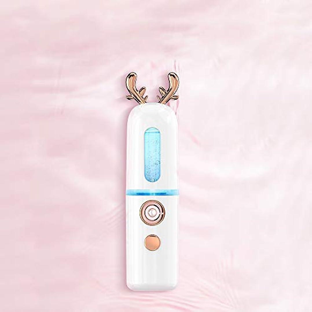逃げるピュー提供されたZXF ナノスプレーハイドレイティング機器アントラー蒸し顔コールドスプレー美容機器ポータブル保湿フェイシャルフェイシャル加湿ホワイト 滑らかである