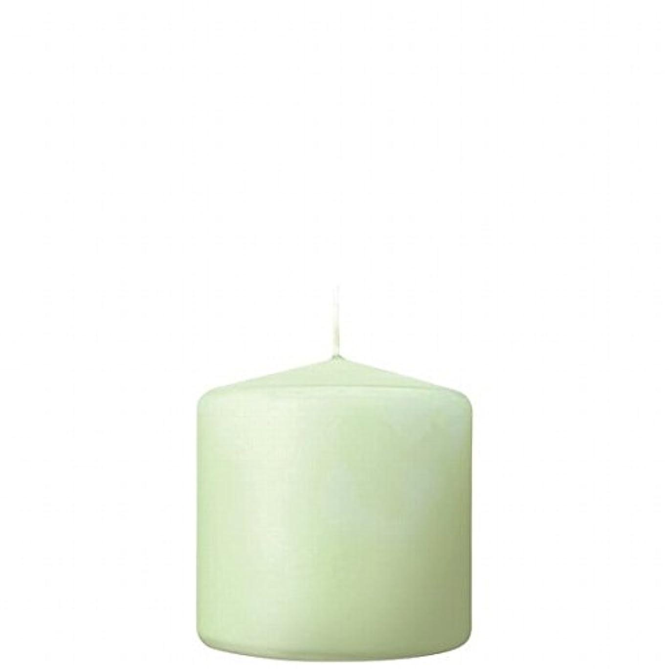 割合配管放散するカメヤマキャンドル( kameyama candle ) 3×3ベルトップピラーキャンドル 「 ホワイトグリーン 」
