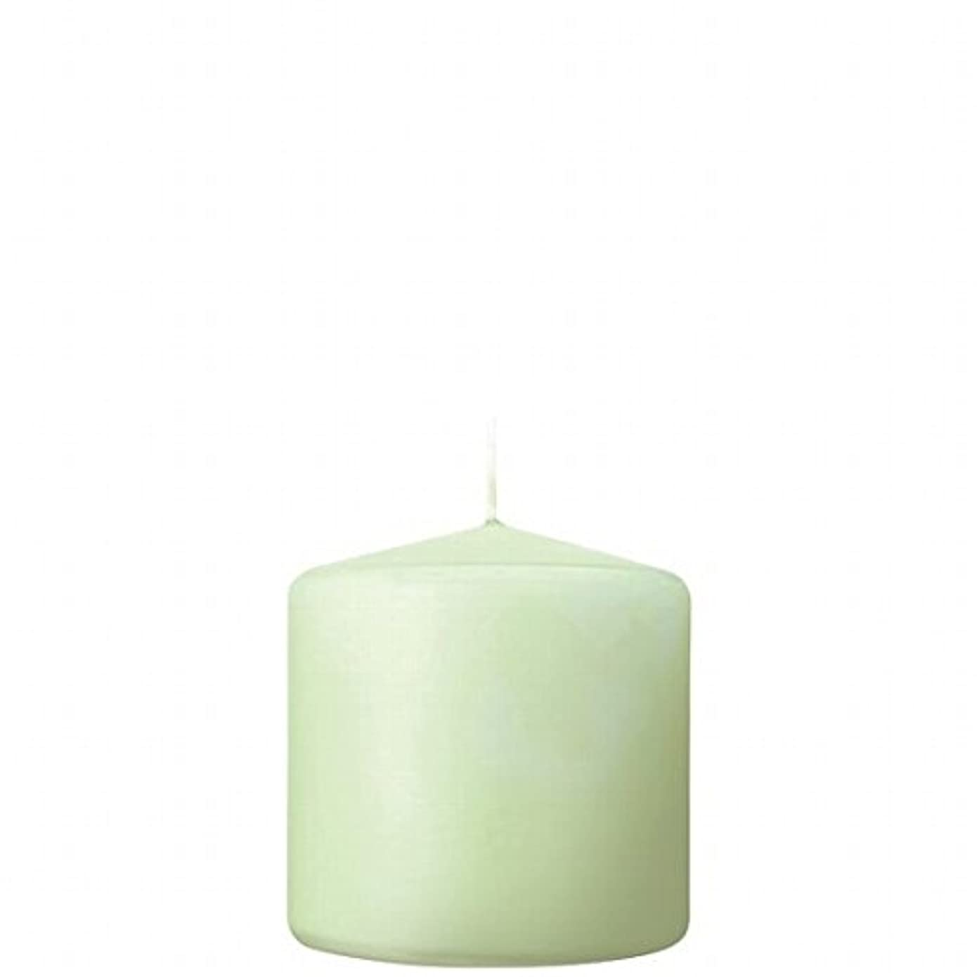 カメヤマキャンドル( kameyama candle ) 3×3ベルトップピラーキャンドル 「 ホワイトグリーン 」