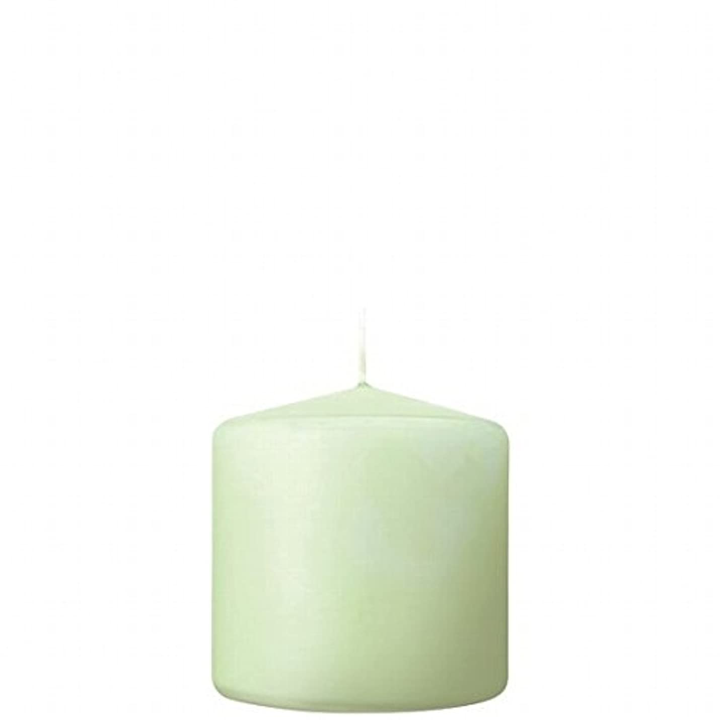 在庫地平線ヘッドレスカメヤマキャンドル( kameyama candle ) 3×3ベルトップピラーキャンドル 「 ホワイトグリーン 」