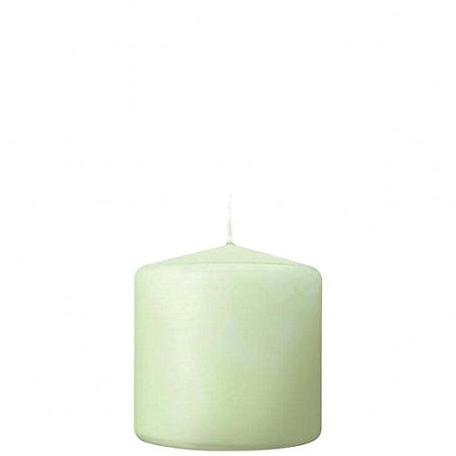 祖先感度温度カメヤマキャンドル( kameyama candle ) 3×3ベルトップピラーキャンドル 「 ホワイトグリーン 」