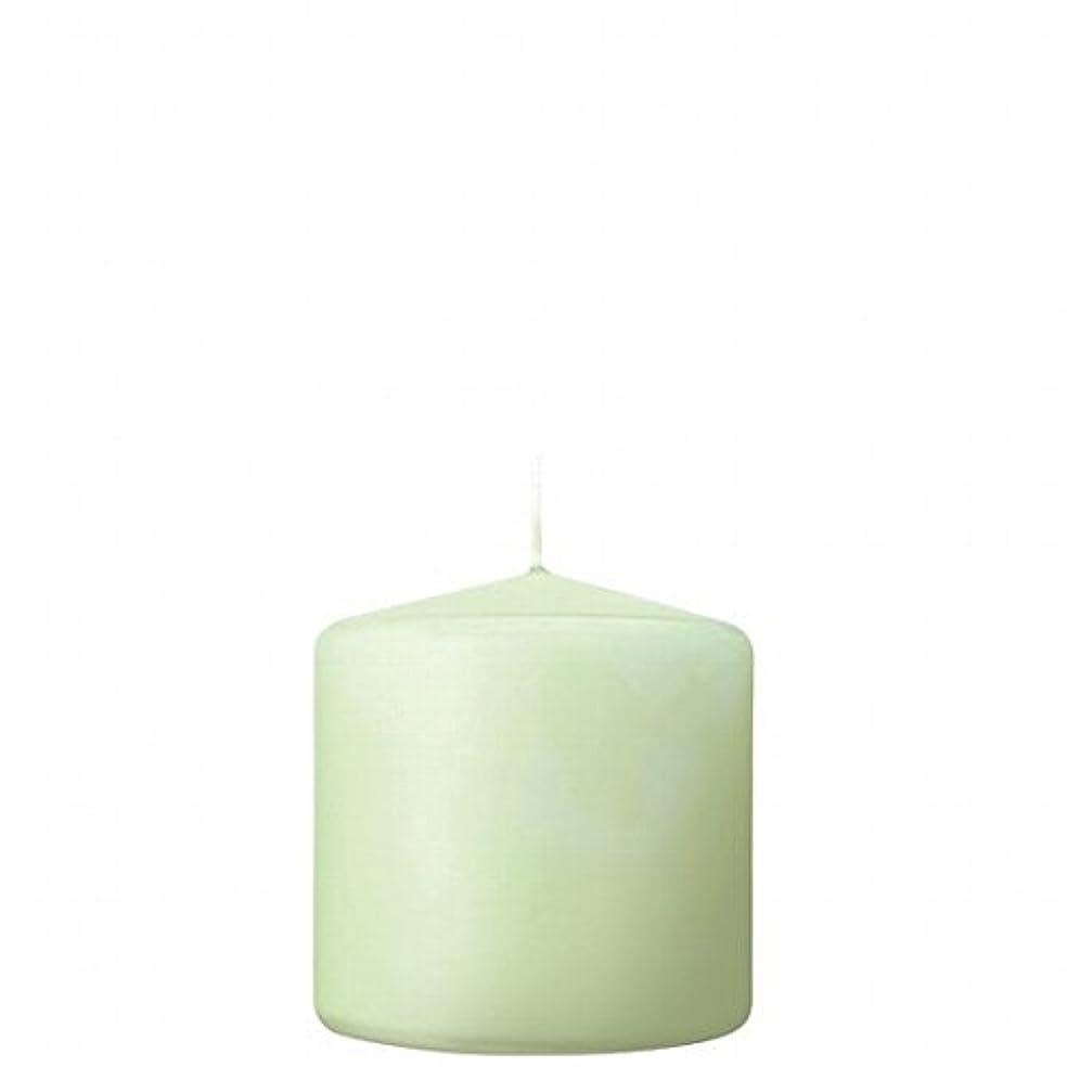 通信網ビザ冷ややかなカメヤマキャンドル( kameyama candle ) 3×3ベルトップピラーキャンドル 「 ホワイトグリーン 」