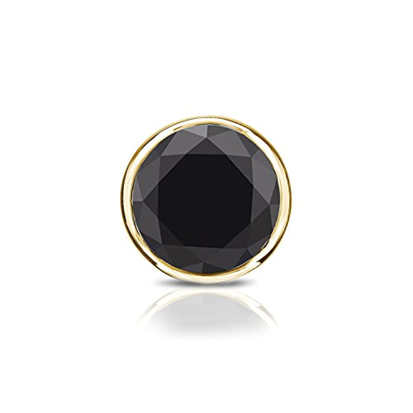 夢中純正相談する14 Kイエローゴールドbezel-setラウンドブラックダイヤモンドシングルスタッドイヤリング( 1 / 4 – 2 ct、ブラック) push-back