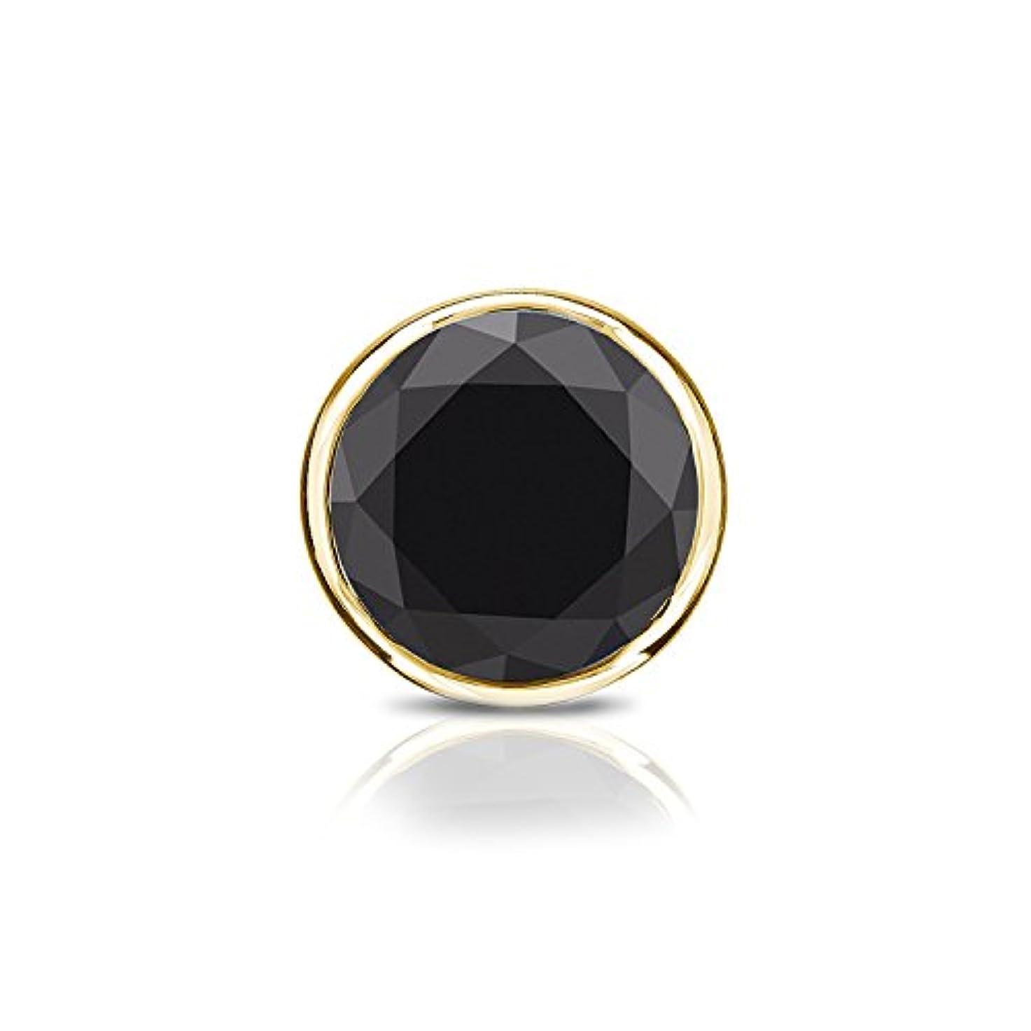 シフト唇拍手する14 Kイエローゴールドbezel-setラウンドブラックダイヤモンドメンズシングルスタッドイヤリング( 1 / 4 – 2 ct、ブラック) push-back