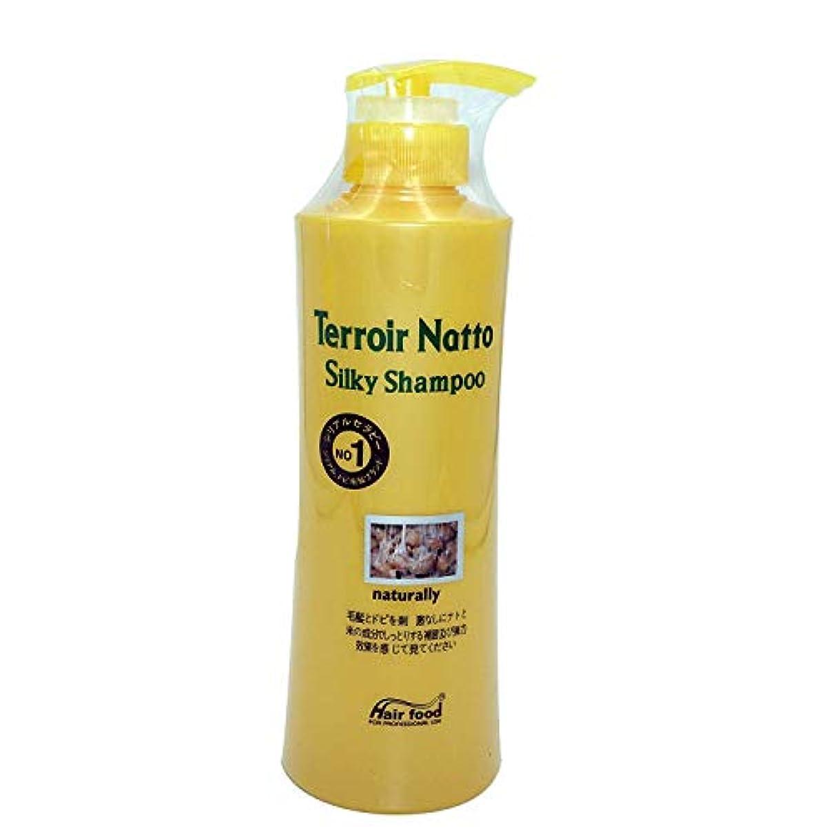 へこみアンプに対応するHair food テロワール納豆シルキーシャンプー500ml、乾燥薄毛とセンシティブな頭皮用 - ビタミンタンパクによる弾力ヘア (Terroir Natto Silky Shampoo 500ml for Dry Thin Hair and Sensitive Scalp - Elastic Hair by Vitamin Protein)[並行輸入品]