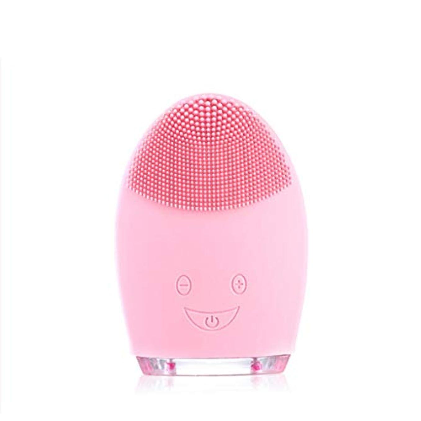 想定する時々いうソニッククレンジングブラシマッサージャー、防水シリコーンクレンザーディープクレンジングスキンケア電気クレンザー、充電式電動シリコーン剥離クレンジングブラシ (Color : Pink)