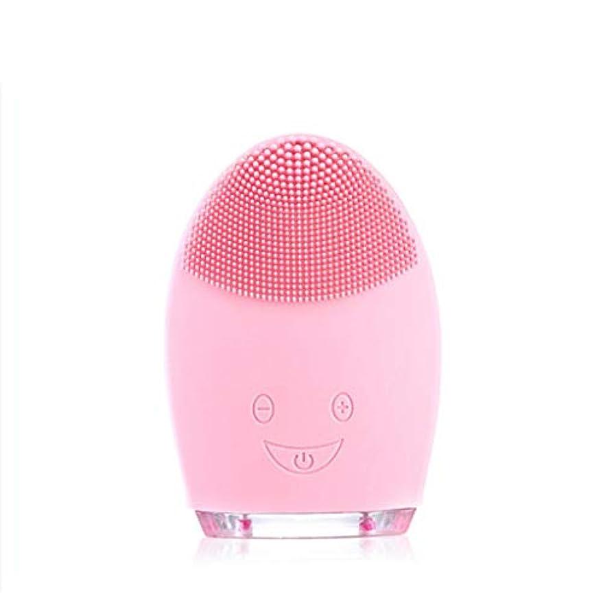 省略硬さ悪質なソニッククレンジングブラシマッサージャー、防水シリコーンクレンザーディープクレンジングスキンケア電気クレンザー、充電式電動シリコーン剥離クレンジングブラシ (Color : Pink)