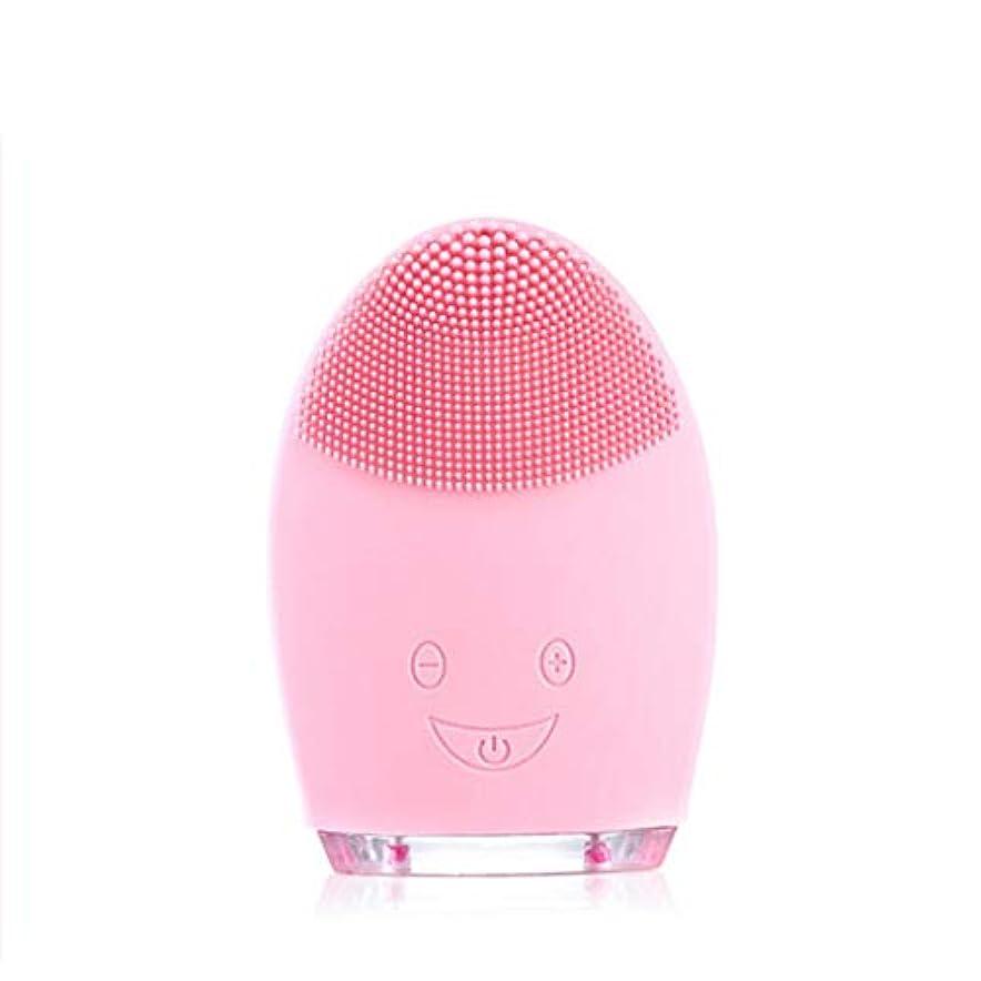 ソニッククレンジングブラシマッサージャー、防水シリコーンクレンザーディープクレンジングスキンケア電気クレンザー、充電式電動シリコーン剥離クレンジングブラシ (Color : Pink)