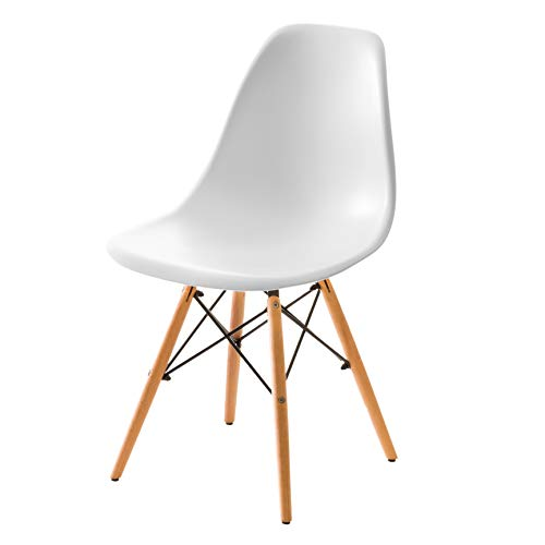 【不朽の名作 イームズチェアー】人気の木脚(DSW)ダイニングチェアー チャールズ・レイ・イームズ作品 リプロダクト 世界で有名なデザイナーズ椅子 訳あり (ホワイト色)