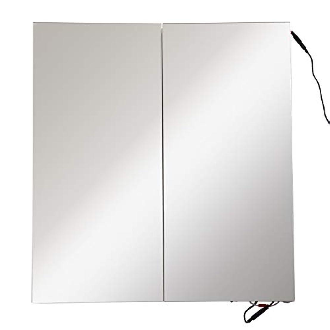 プログラム正午有益な壁掛け LED 浴室 鏡面 キャビネット 薬 収納 クローゼット オーク 25インチx27インチ