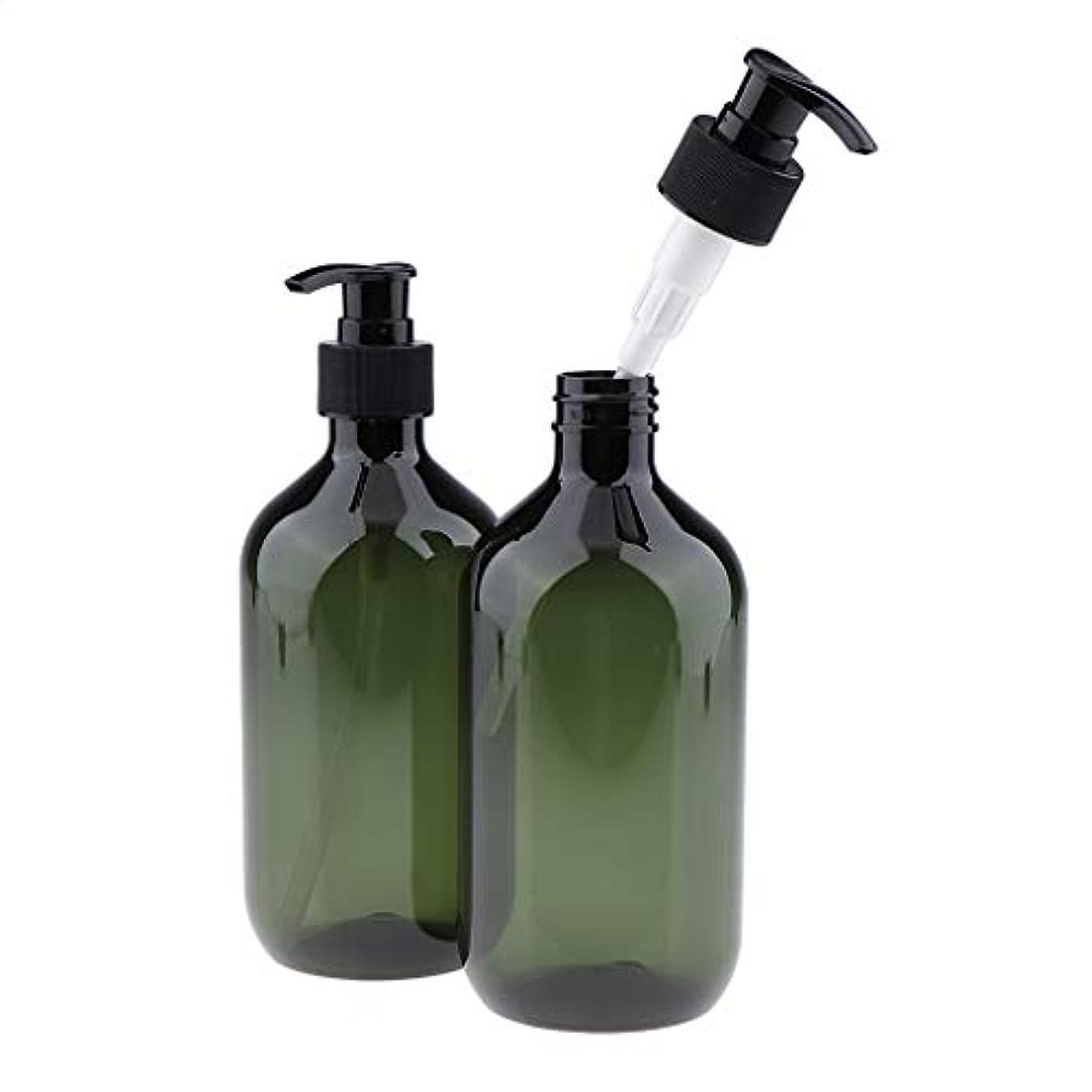 対カバーフランクワースリー2パック16オンス詰め替え空の耐久性のあるプラスチック製のシャンプー&コンディショナーポンプボトルセット - 緑