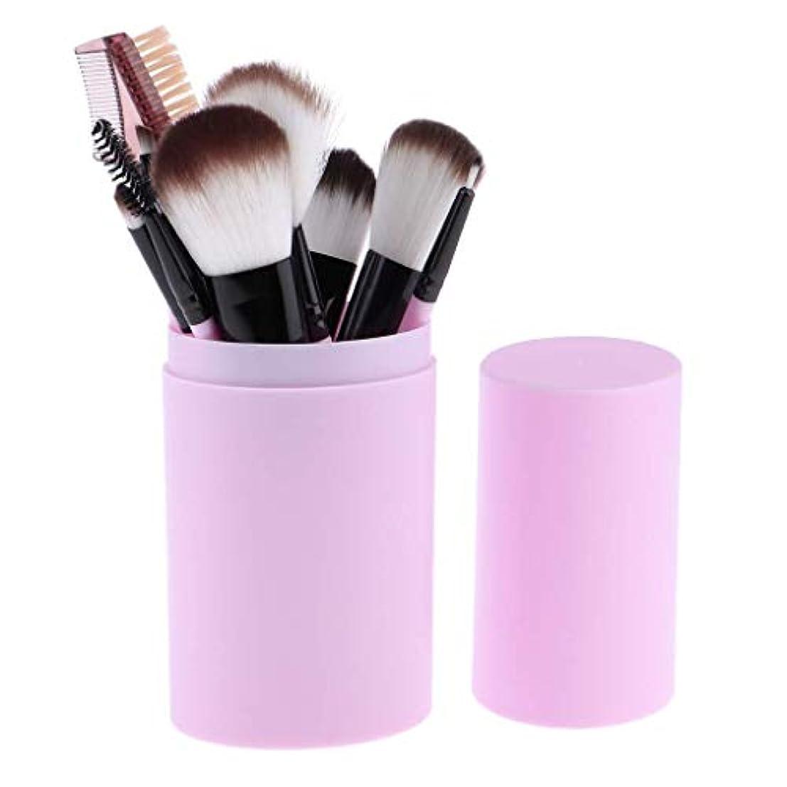 Makeup brushes スミア、持ち運びにやさしい、12ピース高品質木製ハンドル化粧ブラシセット(収納バケツ化粧ブラシセット) suits (Color : Purple)