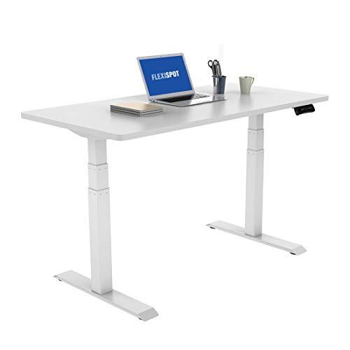 FLEXISPOT スタンディングデスク 電動式昇降デスク 組立簡単(ネジ六本だけ)障害物検知機能付き 高さ調節パソコンデスク140*70cmテーブル (脚ホワイト+板ホワイト)