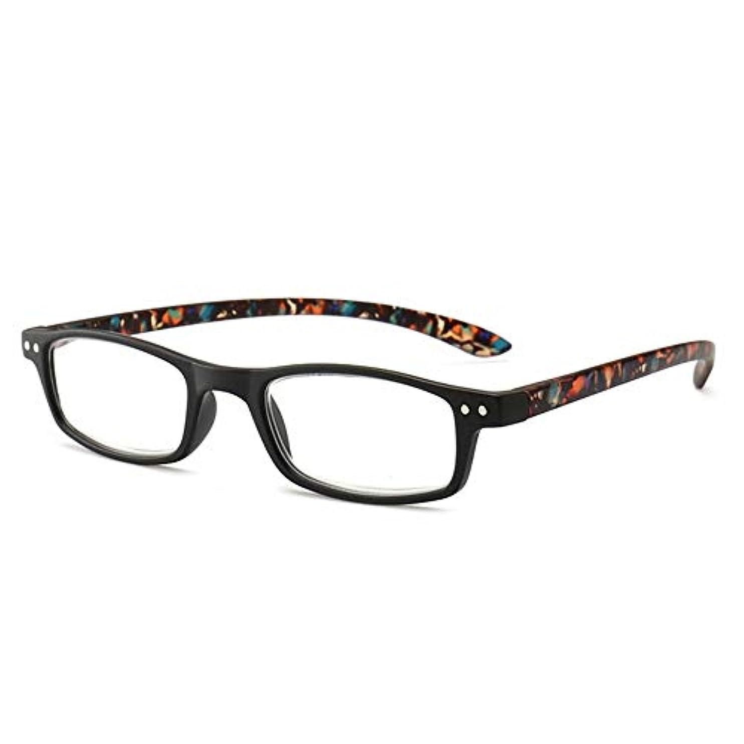 扇動する南聞きますT128老眼鏡視度+1.0〜+4.0女性男性フルフレームラウンドレンズ老視メガネ超軽量抗疲労-ブラック200