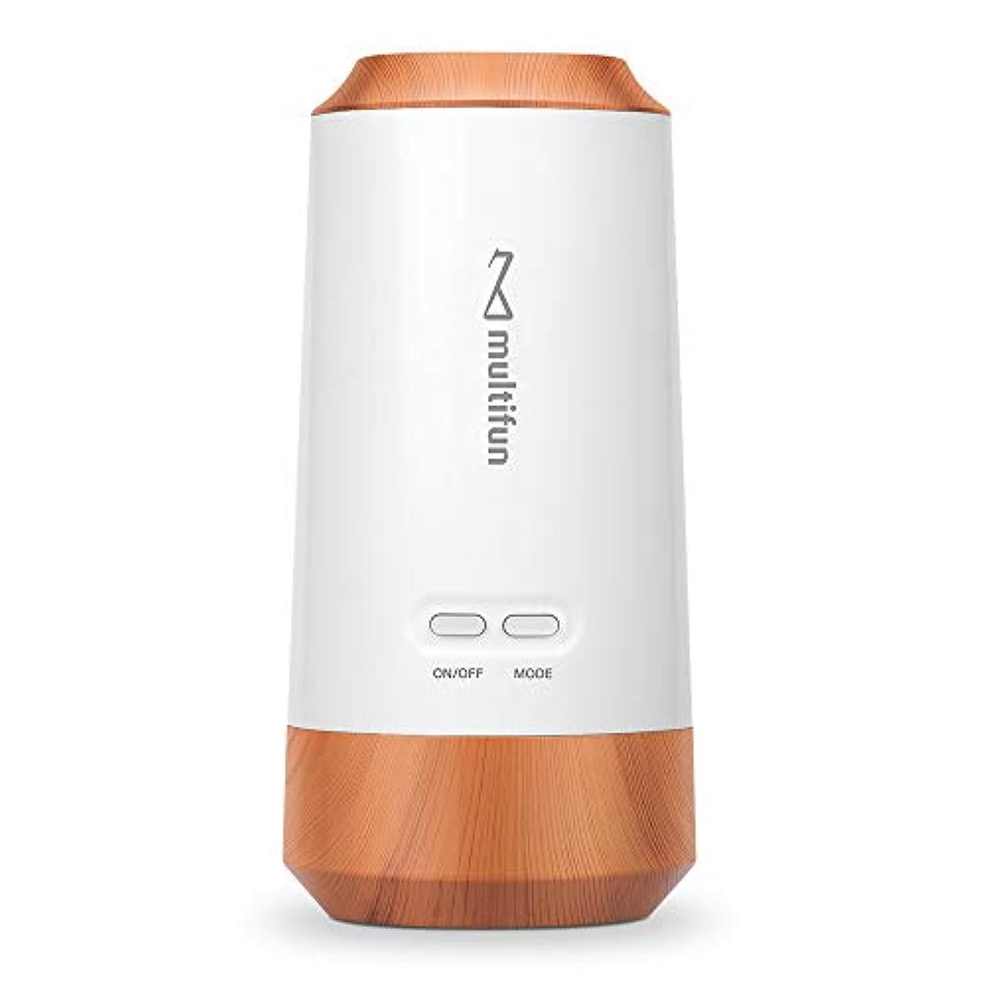 スクランブルクレジットお誕生日multifun アロマディフューザー ネブライザー式 気化式 車載用 コードレス 水を使わない 充電式 静音 車用 10mlアロマ320時間使える 精油瓶1個 スポイト付き 6畳~9畳まで