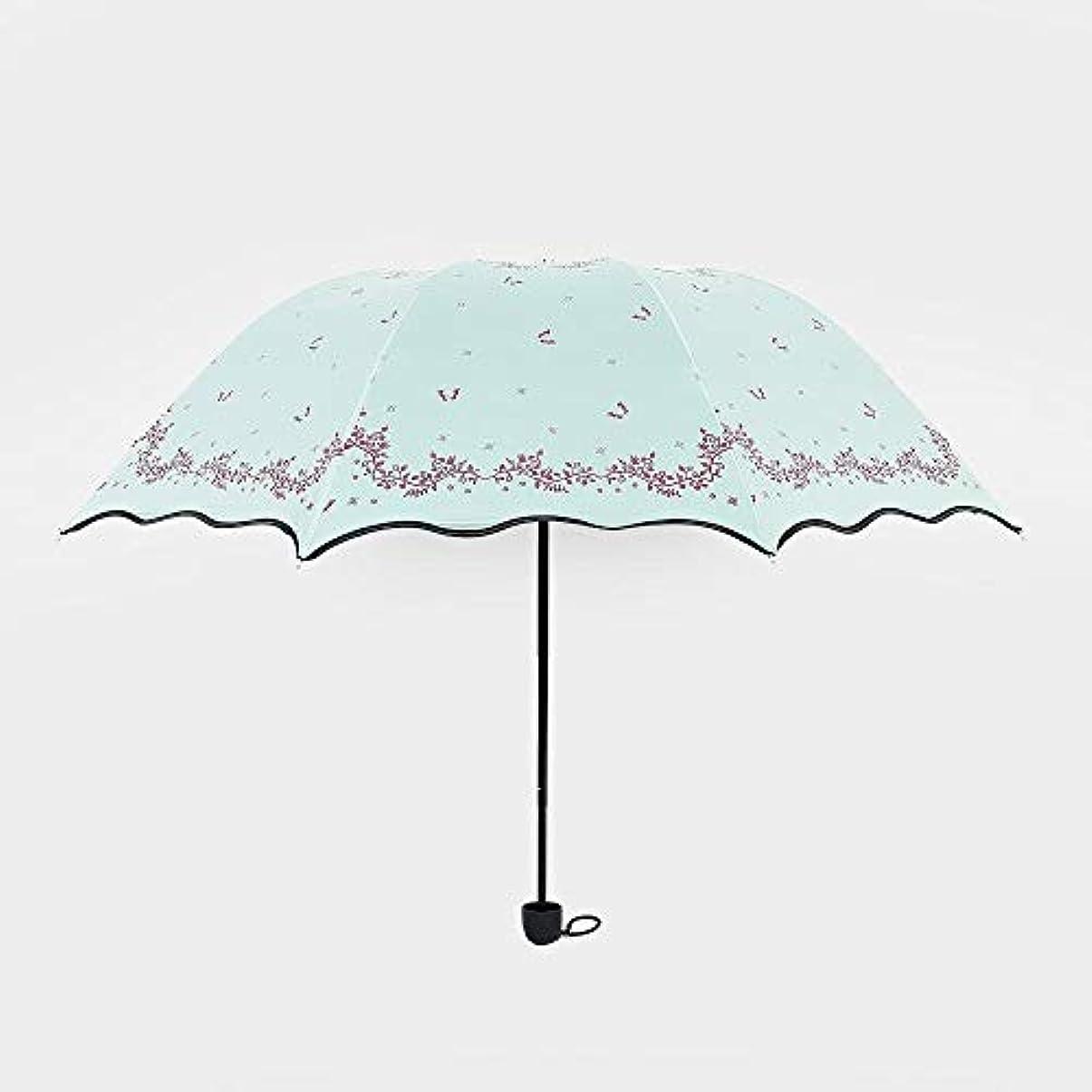 魔法掻くほこりっぽいChuangshengnet 傘ビニール傘小さな花の傘屋外折りたたみ傘日焼け防止 (Color : 青)