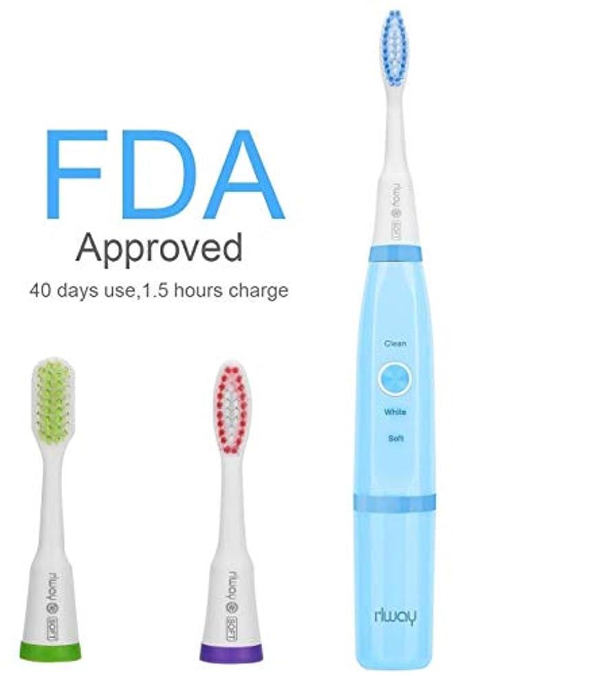 療法息を切らして注ぎます電動歯ブラシ rlway 超音波電動歯ブラシ IPX7防水 USB充電式 替えブラシ3本 プロテクトクリーン 歯ブラシ ハブラシ 子供大人に適用 ブルー