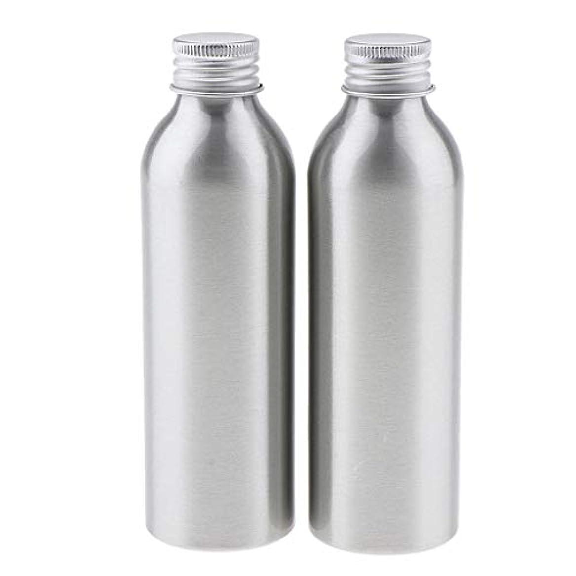 状木製失効2本 アルミボトル 空容器 化粧品収納容器 ディスペンサーボトル シルバー 全5サイズ - 150ml