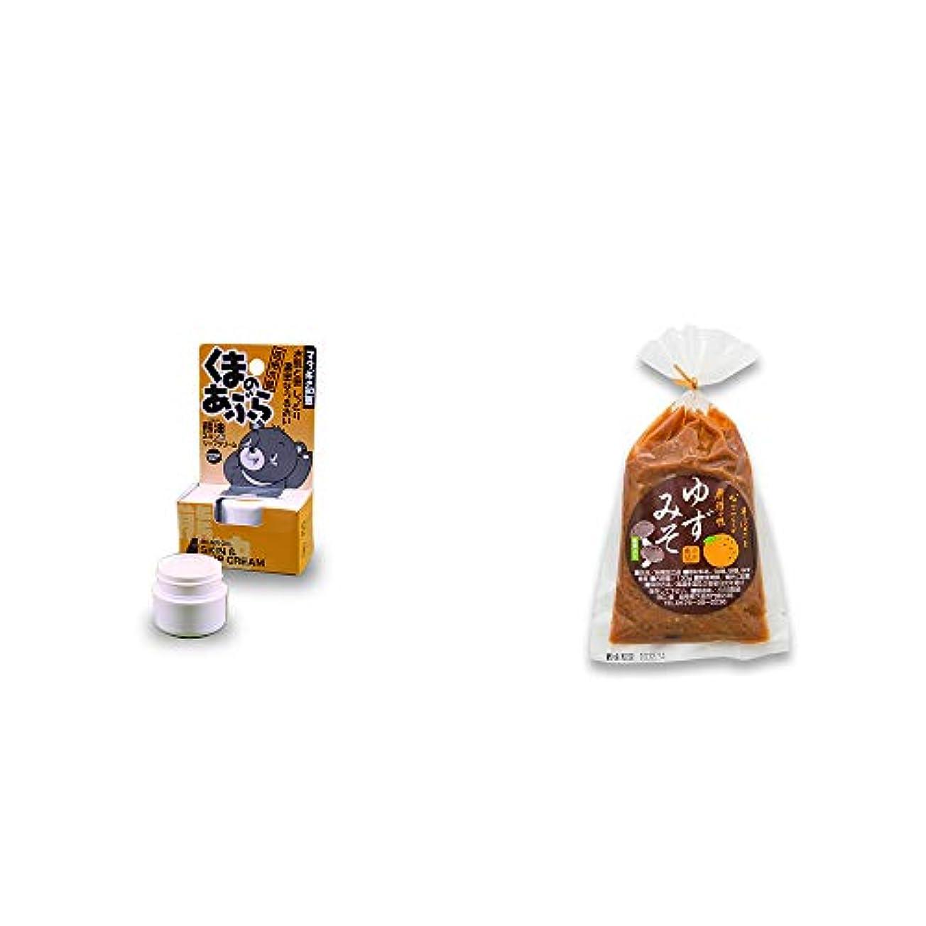 サンダル見る人コート[2点セット] 信州木曽 くまのあぶら 熊油スキン&リップクリーム(9g)?ゆずみそ(130g)