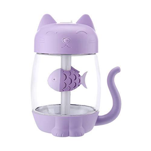 Top Homie 小型加湿器かわいい猫加湿器350ML照明ライト小型扇風機付き省エネ空焚き防止乾燥防止卓上静音オフィス寝室