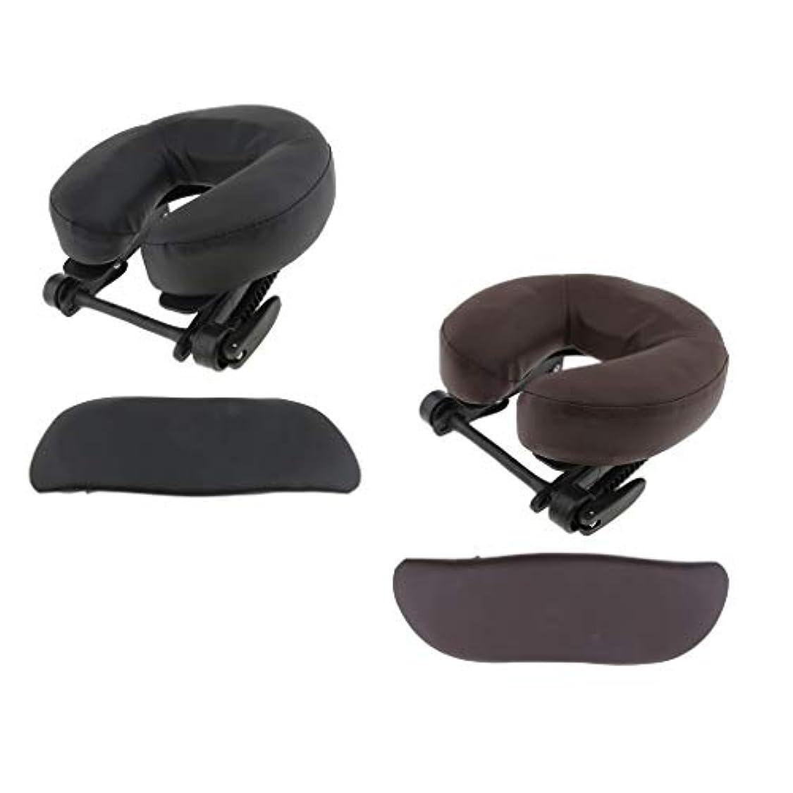 砦鳴らす保証するHellery 顔枕 マッサージ用 ボディマッサージ フェイスピロー フェイスピロー 枕 フェイスクレードルクッション - ブラウン+ブラック