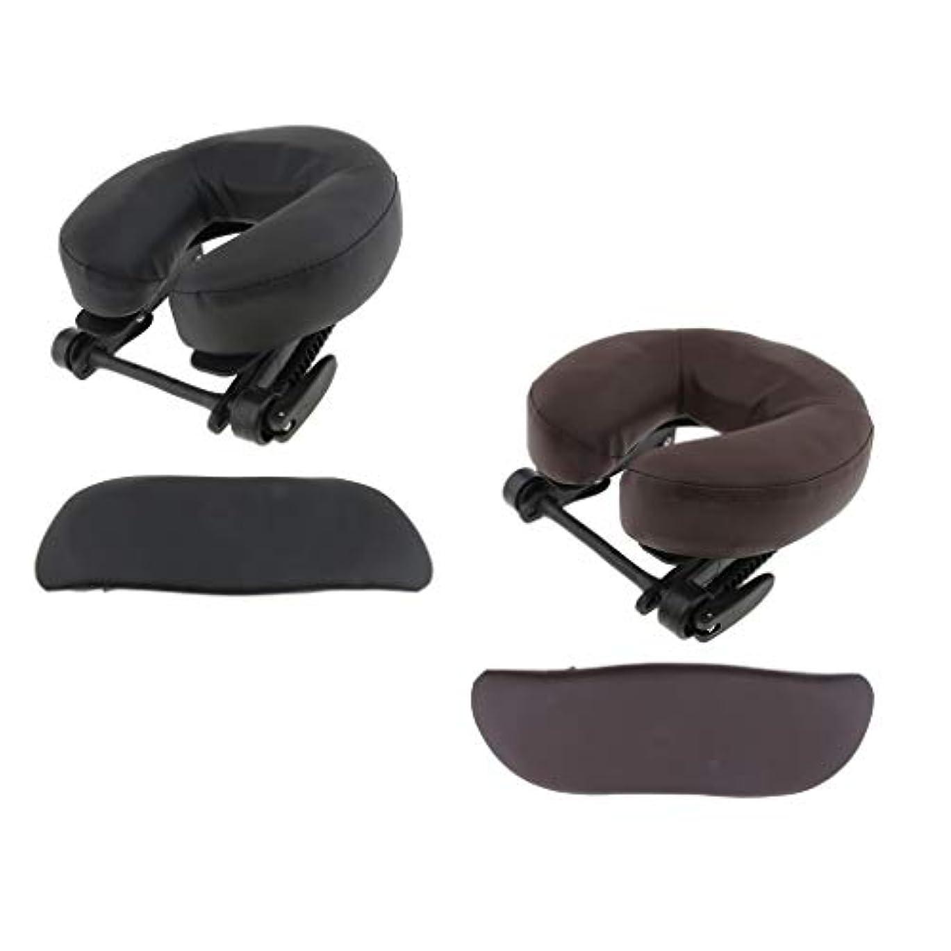 間接的プレゼン精緻化Hellery 顔枕 マッサージ用 ボディマッサージ フェイスピロー フェイスピロー 枕 フェイスクレードルクッション - ブラウン+ブラック