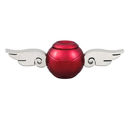 球形 三面回転可能 4様式 指先ジャイロ 指スピナー ハンドスピナー 指先ジャイロ(Hand Spinner Fidget Spinner) ADD、ADHD、自閉症、集中力を向上し、ストレスを解消する場合などに最適 ハンドスピナー 独楽おもちゃ 1-3分 成人用 /子供用 様式(A-B-C-D) (新ー合金製一面回転可能の天使の翼, 赤色)