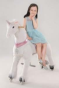 """Ufree horse、動く馬、乗用玩具、大きいサイズ木馬、木馬おもちゃ、走れ、ポニー44""""、子供へのプレゼント (ピンクユニコーン)"""