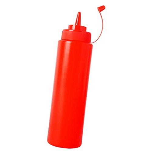 【ノーブランド品】 【】プラスチック スクイーズ ボトル ケチャップ マスタード ソース 酢 ディスペンサー 2色5サイズ選べる - 赤, 480ミリリットル