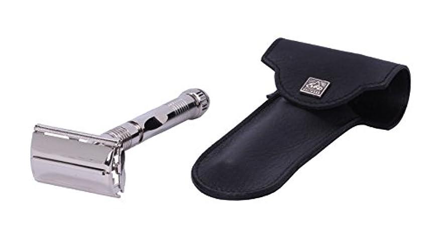 有用はげ抜本的なErbe Safety Razor Tradition Chrome partly ribbed with genuine Leather Etui