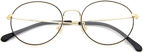 Cyxus(シクサズ)青色光カットメガネ(透明レンズ)PCメガネ 輻射防止 視力保護 睡眠改善 目の疲れを緩和する ファション眼鏡 ラウンド ステンレス お洒落 男女兼用